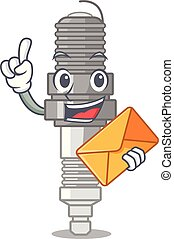 With envelope spark plug in a cartoon box