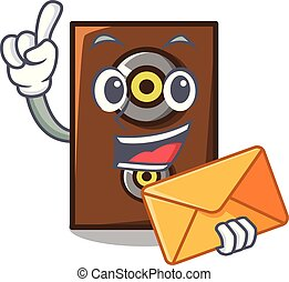 With envelope speaker character cartoon style