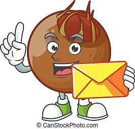 With envelope sweet medlar cartoon on white background