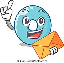 With envelope the number zero on a cartoon