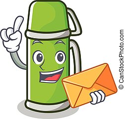 With envelope thermos character cartoon style