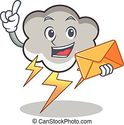 With envelope thunder cloud character cartoon