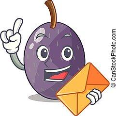 With envelope velvet tamarind fruit in bottle glass cartoon