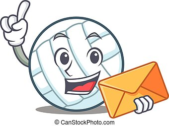 With envelope volley ball character cartoon vector...
