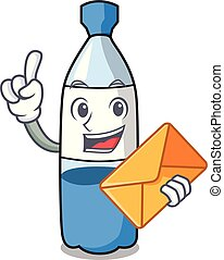 With envelope water bottle character cartoon