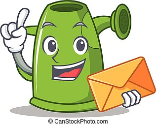 With envelope watering can character cartoon