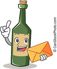 With envelope wine bottle character cartoon