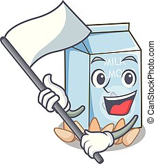 With flag almond milk in the cartoon shape