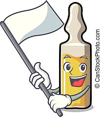 With flag ampoule mascot cartoon style vector illustration