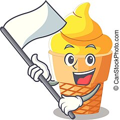 With flag banana ice cream in cone character