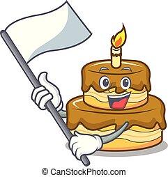 With flag birthday cake mascot cartoon