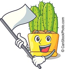 With flag cereus cactus with flower buds cartoon