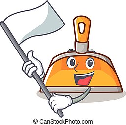 With flag dustpan character cartoon style vector...