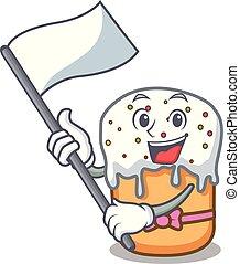 With flag easter cake mascot cartoon