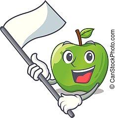 With flag green smith apple isolated on cartoon vector...