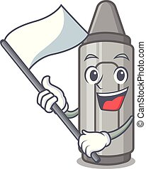 With flag grey crayon in a bag cartoon