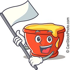 With flag honey character cartoon style