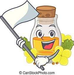 With flag mustard oil in the cartoon shape vector ...