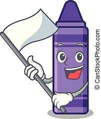 With flag purple crayon in a mascot bag