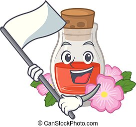 With flag rosehip seed oil on a mascot vector illustration