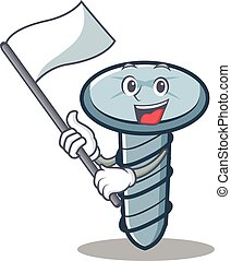 With flag screw character cartoon style