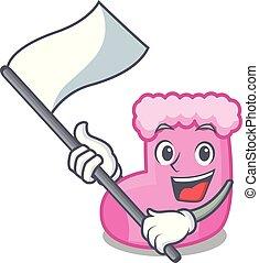 With flag sock mascot cartoon style