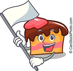 With flag sponge cake mascot cartoon