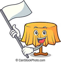 With flag table cloth mascot cartoon