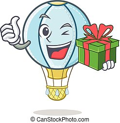 With gift air balloon character cartoon