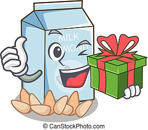 With gift almond milk in the cartoon bottle
