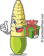 With gift baby corn cartoon in the fridge