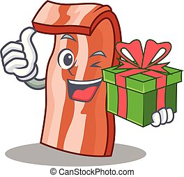 With gift bacon mascot cartoon style vector illustration