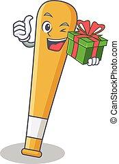 With gift baseball bat character cartoon