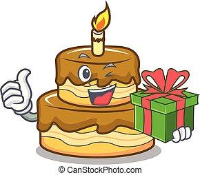 With gift birthday cake mascot cartoon