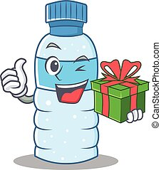 With gift bottle character cartoon style