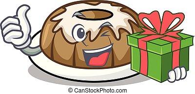 With gift bundt cake mascot cartoon