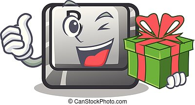 With gift button B on a mascot keyboard