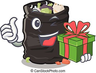 With gift cartoon garbage bag next to table vector illustration