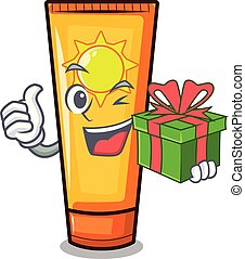 With gift cartoon sun cream in bag makeup vector...