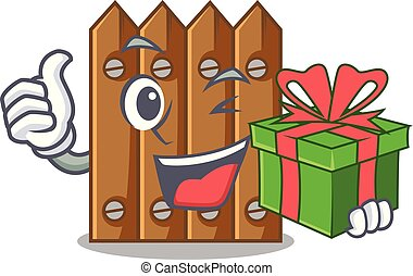 With gift cartoon wooden fence over the grass