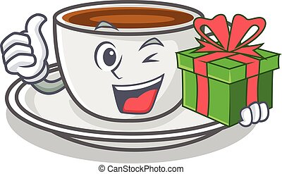 With gift coffee character cartoon style