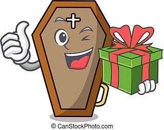 With gift coffin mascot cartoon style