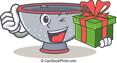 With gift colander utensil character cartoon vector...