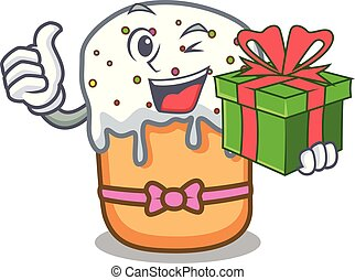 With gift easter cake mascot cartoon