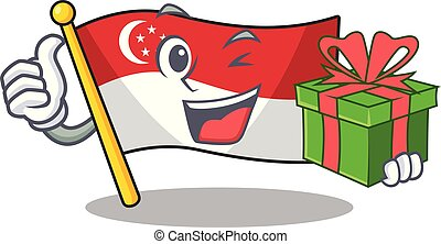 With gift flag singapore isolated with the character vector illustration