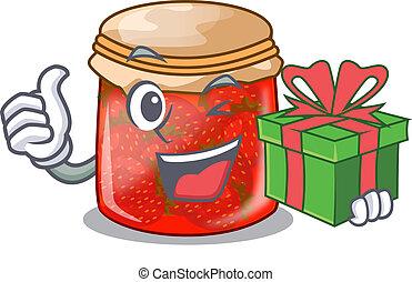 With gift fresh tasty strawberry jam on mascot vector...