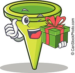 With gift funnel character cartoon style