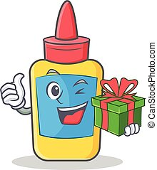 With gift glue bottle character cartoon