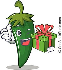 With gift green chili character cartoon