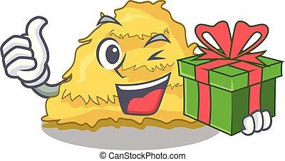 With gift hay bale mascot cartoon vector illustration